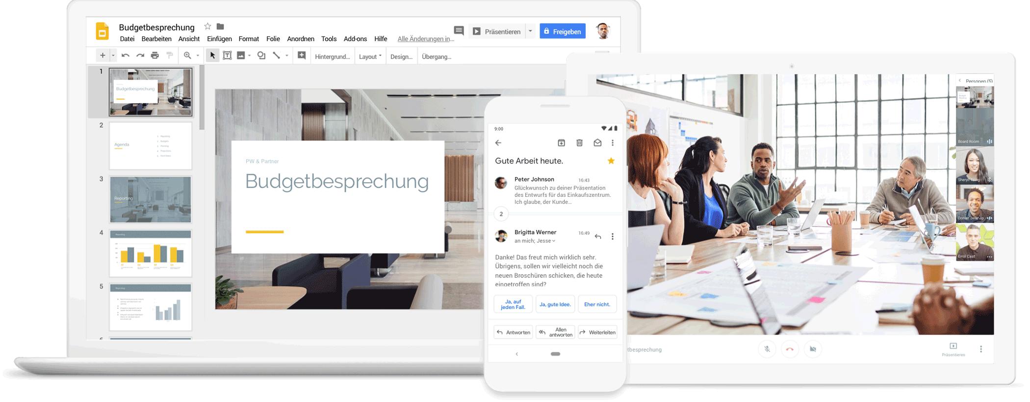 Google G Suite Tools im Einsatz