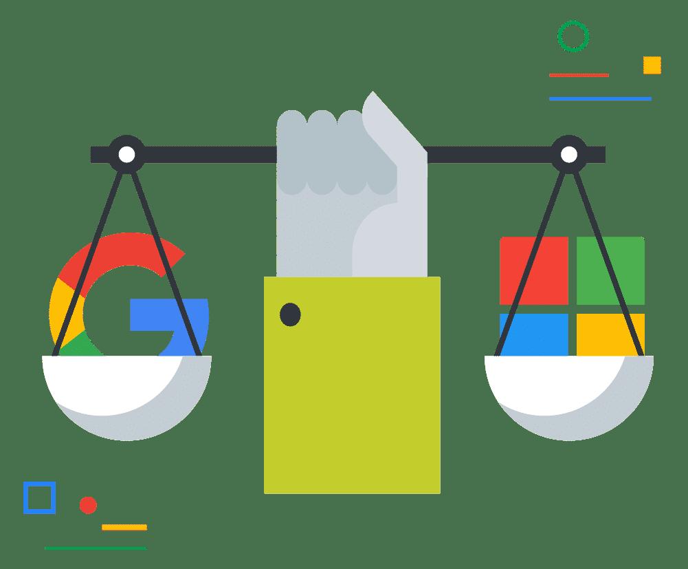 Vergleich Google Workspace vs. Microsoft 365 Grafik