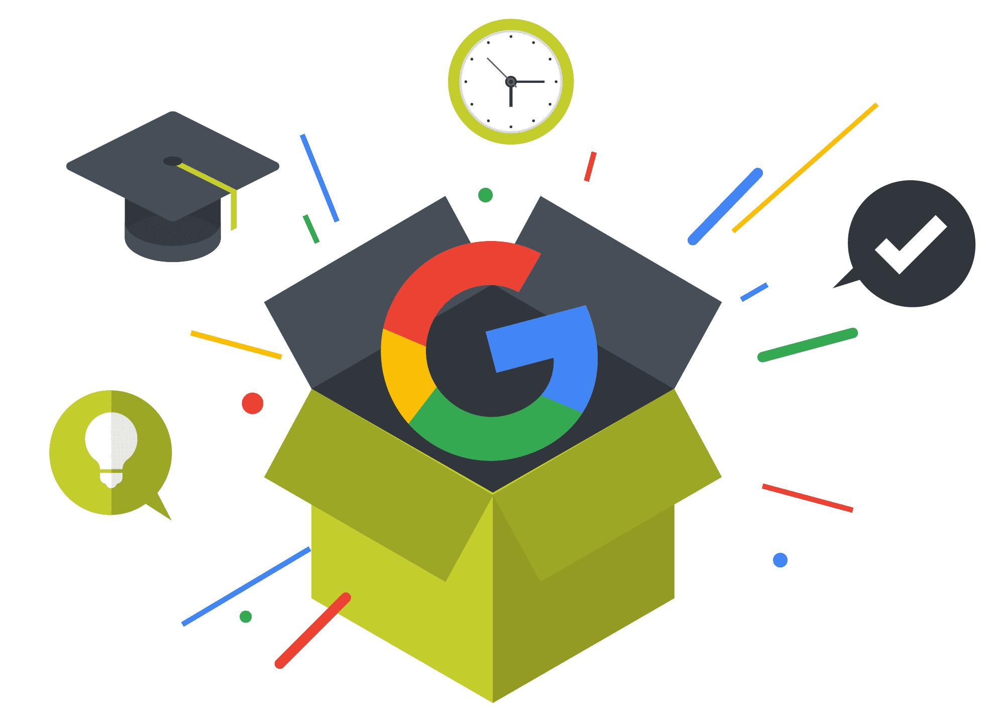 Paket mit herauspringenden Google G und anderen Icons